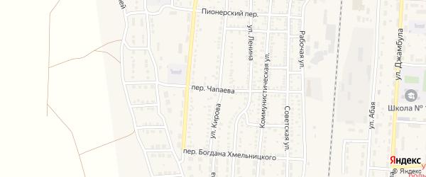 Переулок Чапаева на карте поселка Верхнего Баскунчака Астраханской области с номерами домов