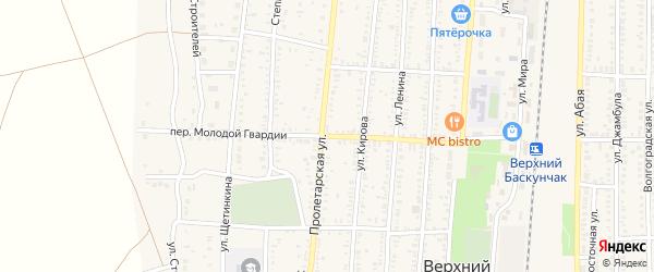 Переулок Молодой Гвардии на карте поселка Верхнего Баскунчака Астраханской области с номерами домов