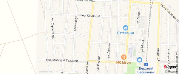 Переулок Спартака на карте поселка Верхнего Баскунчака Астраханской области с номерами домов