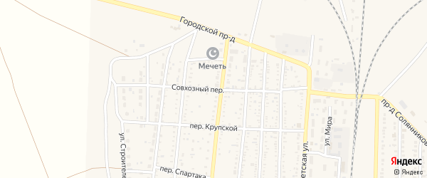 Совхозный переулок на карте поселка Верхнего Баскунчака с номерами домов