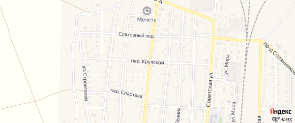 Крупской переулок на карте поселка Верхнего Баскунчака Астраханской области с номерами домов