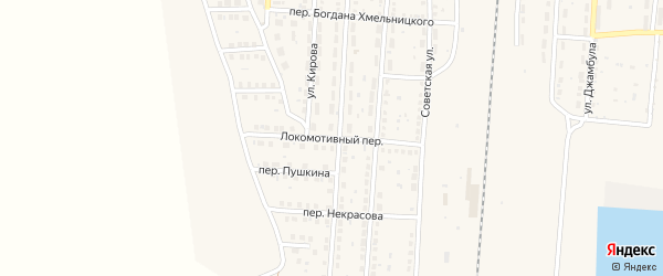 Локомотивный переулок на карте поселка Верхнего Баскунчака Астраханской области с номерами домов