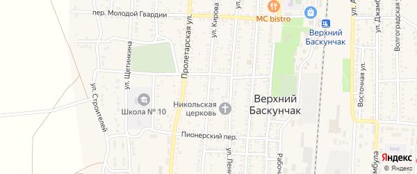 Улица Кирова на карте поселка Верхнего Баскунчака Астраханской области с номерами домов