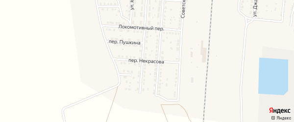 Переулок Некрасова на карте поселка Верхнего Баскунчака с номерами домов