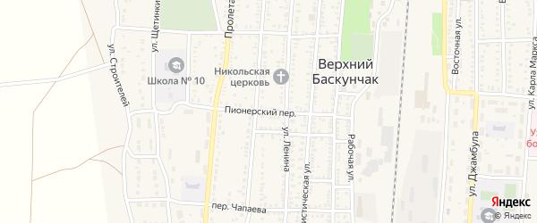 Пионерский переулок на карте поселка Верхнего Баскунчака Астраханской области с номерами домов