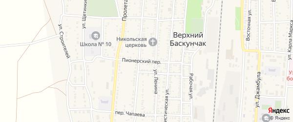 Пионерский переулок на карте поселка Верхнего Баскунчака с номерами домов
