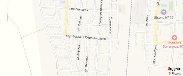 Переулок Богдана Хмельницкого на карте поселка Верхнего Баскунчака Астраханской области с номерами домов