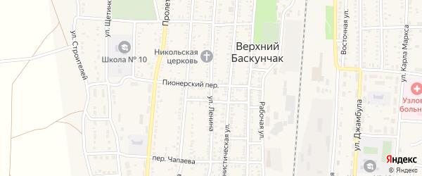 Улица Ленина на карте поселка Верхнего Баскунчака с номерами домов
