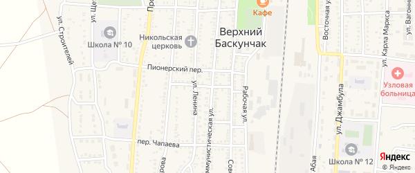 Деповской переулок на карте поселка Верхнего Баскунчака Астраханской области с номерами домов