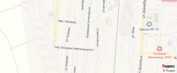 Советский переулок на карте поселка Верхнего Баскунчака Астраханской области с номерами домов