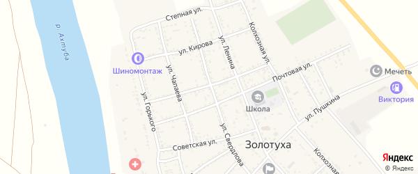 Улица Урицкого на карте села Золотухи Астраханской области с номерами домов