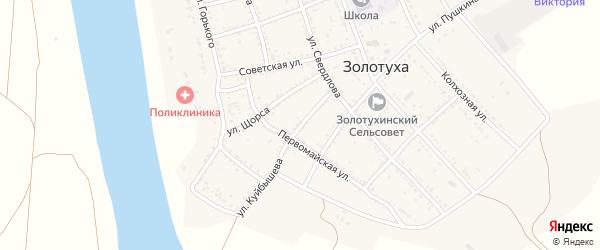 Улица Куйбышева на карте села Золотухи Астраханской области с номерами домов
