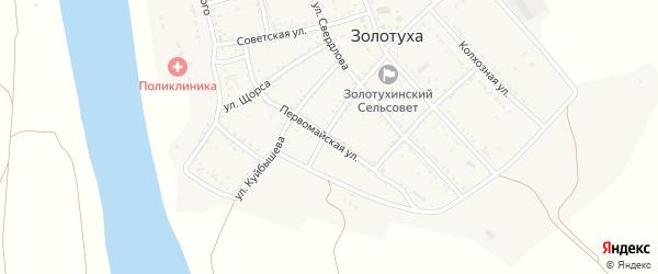 Первомайская улица на карте села Золотухи Астраханской области с номерами домов