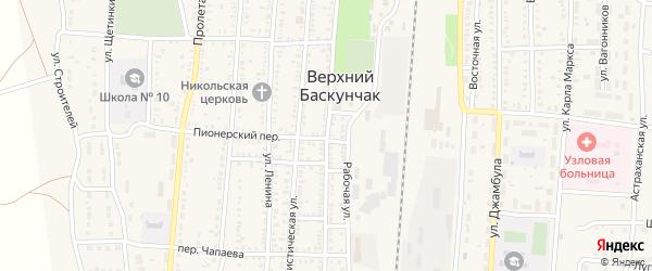 Советская улица на карте поселка Верхнего Баскунчака Астраханской области с номерами домов