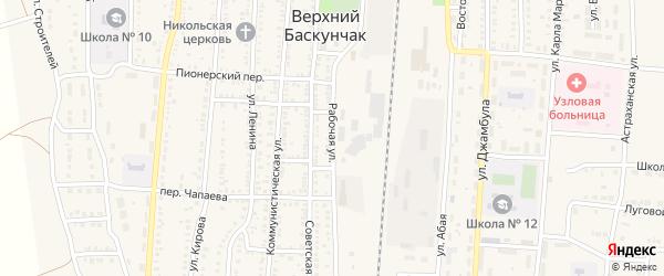 Рабочая улица на карте поселка Верхнего Баскунчака Астраханской области с номерами домов