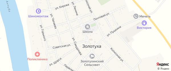 Улица Ленина на карте села Золотухи Астраханской области с номерами домов