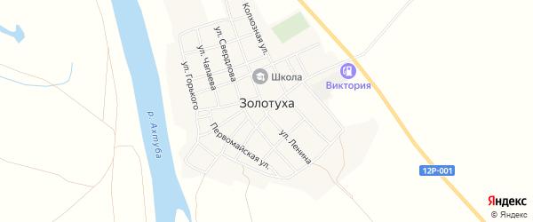 Территория ферма Луневка на карте села Золотухи Астраханской области с номерами домов