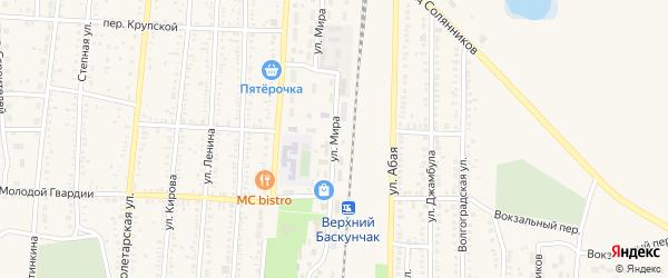 Улица Мира на карте поселка Верхнего Баскунчака Астраханской области с номерами домов