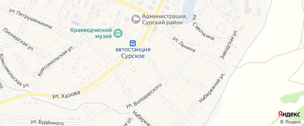 Хазова 3-й переулок на карте поселка Сурского Ульяновской области с номерами домов