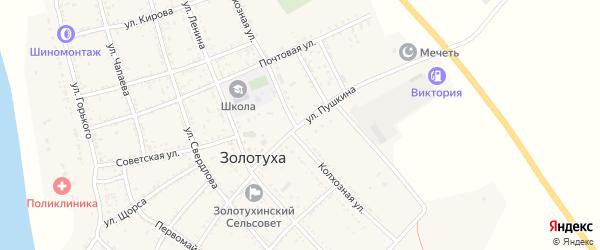 Улица Пушкина на карте села Золотухи Астраханской области с номерами домов