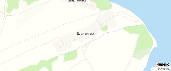 Карта деревни Шунангера в Марий Эл с улицами и номерами домов