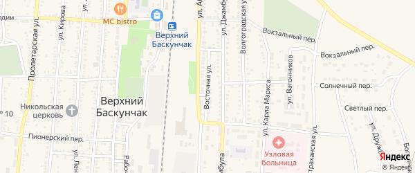Восточная улица на карте поселка Верхнего Баскунчака Астраханской области с номерами домов