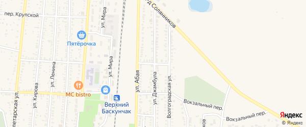 Железнодорожный переулок на карте поселка Верхнего Баскунчака Астраханской области с номерами домов