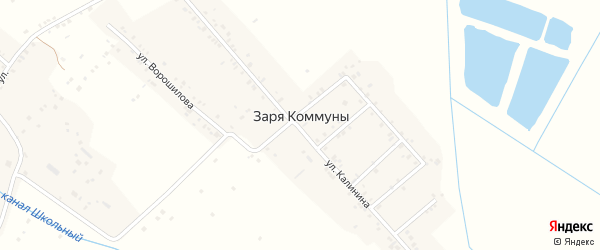 Восточный переулок на карте села Зари Коммуны Дагестана с номерами домов