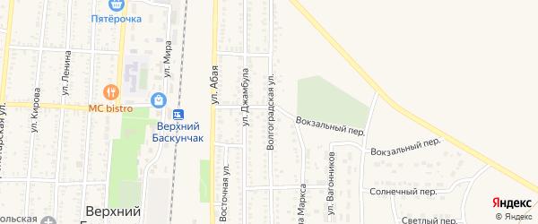 Волгоградская улица на карте поселка Верхнего Баскунчака с номерами домов