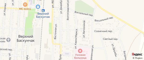 Свободный переулок на карте поселка Верхнего Баскунчака Астраханской области с номерами домов