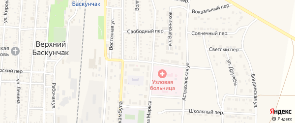Октябрьский переулок на карте поселка Верхнего Баскунчака Астраханской области с номерами домов
