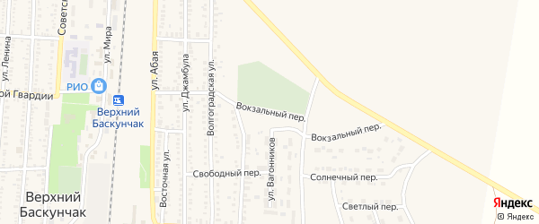 Вокзальный переулок на карте поселка Верхнего Баскунчака Астраханской области с номерами домов