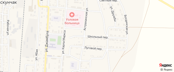 Школьный переулок на карте поселка Верхнего Баскунчака Астраханской области с номерами домов