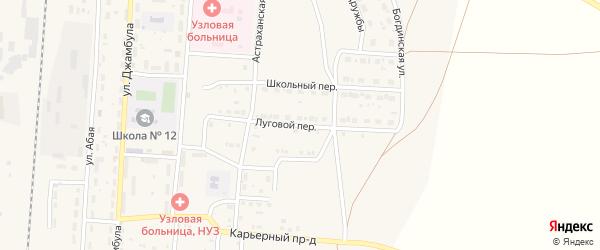 Луговой переулок на карте поселка Верхнего Баскунчака Астраханской области с номерами домов
