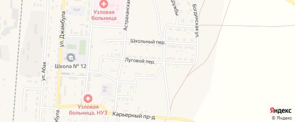 Луговой переулок на карте поселка Верхнего Баскунчака с номерами домов