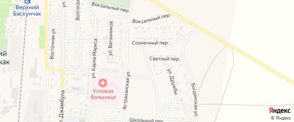 Спортивная улица на карте поселка Верхнего Баскунчака Астраханской области с номерами домов