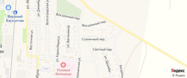 Солнечный переулок на карте поселка Верхнего Баскунчака Астраханской области с номерами домов
