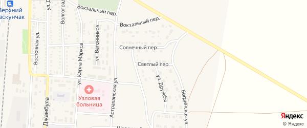 Светлый переулок на карте поселка Верхнего Баскунчака Астраханской области с номерами домов