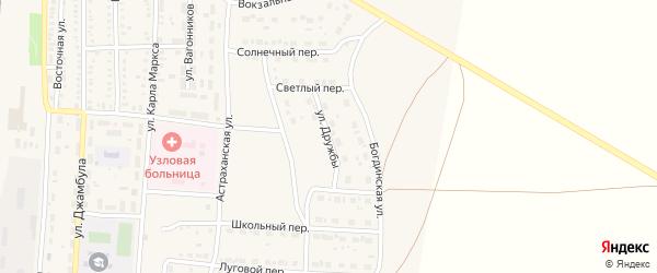 Улица Дружбы на карте поселка Верхнего Баскунчака Астраханской области с номерами домов