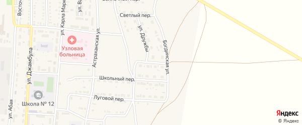 Озерный переулок на карте поселка Верхнего Баскунчака Астраханской области с номерами домов