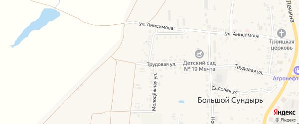 Молодежная улица на карте села Большого Сундыря с номерами домов