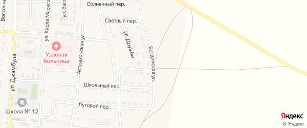 Богдинская улица на карте поселка Верхнего Баскунчака Астраханской области с номерами домов