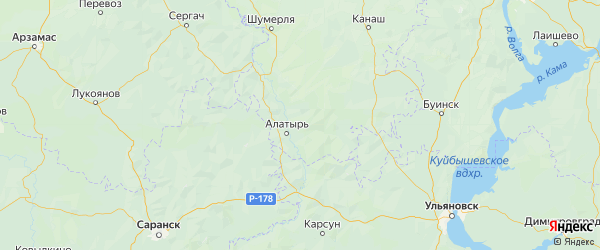 Карта Алатырского района Республики Чувашии с городами и населенными пунктами