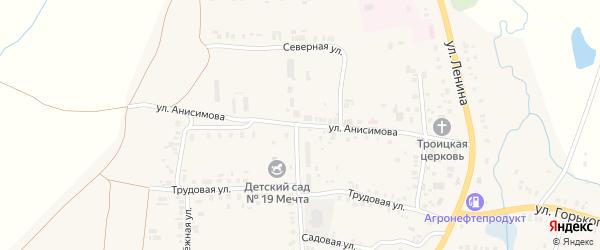 Улица Анисимова на карте села Большого Сундыря с номерами домов