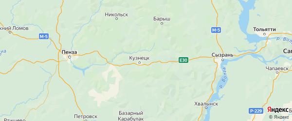 Карта Кузнецкого района Пензенской области с городами и населенными пунктами