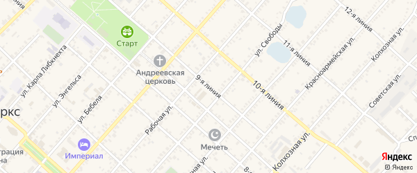 9-я линия на карте Маркса с номерами домов
