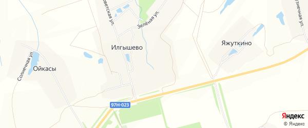 Карта деревни Илгышево в Чувашии с улицами и номерами домов