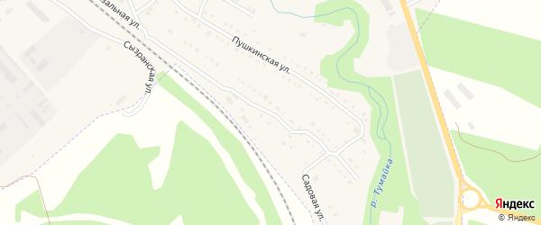 Садовая улица на карте поселка Базарного Сызган Ульяновской области с номерами домов