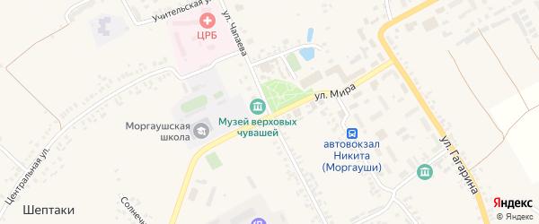 Улица Чапаева на карте села Моргаушей с номерами домов