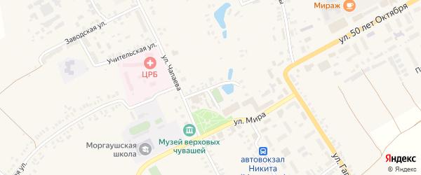 Улица Комсомольская Площадь на карте села Моргаушей с номерами домов